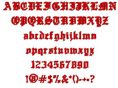English on All Characters In The Old English Embroidery Font At 1 2  Height