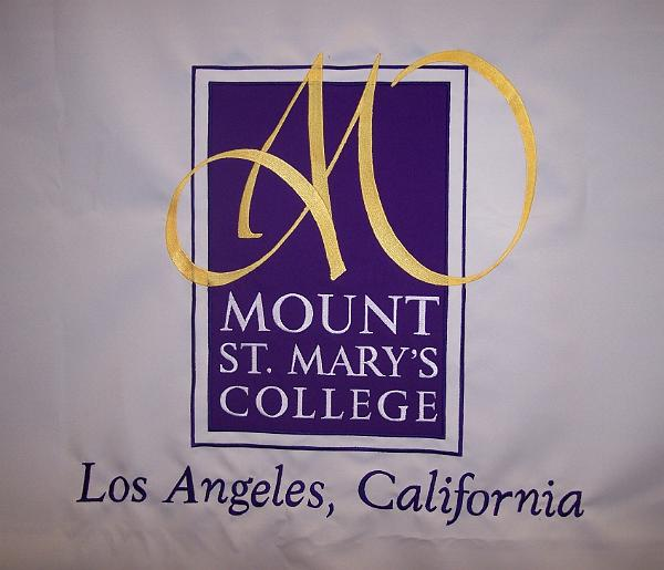 Mt. St. Mary's embroidered table cloth
